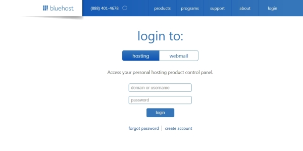 login-bluehost-start-online-store