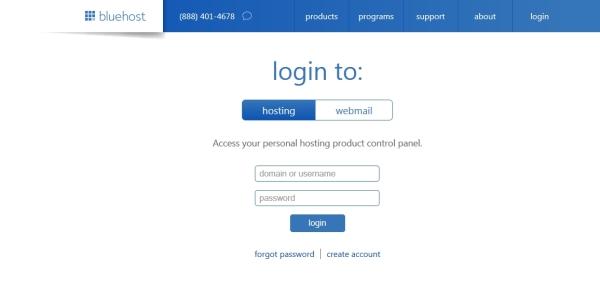 login-bluehost-start-online-store