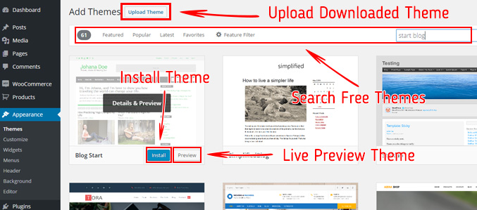 upload-new-theme-search-free-themes-when-starting-blog